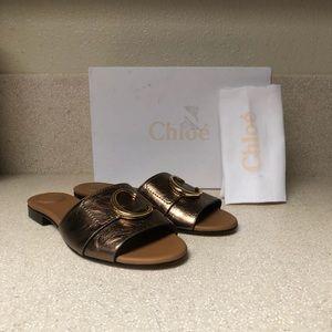Chloé Cstory Slide Sandal Harvest Gold Sz 40 / 10